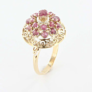 Art Nouveau 14K Yellow Gold Ruby Ballerina Ring Cocktail Cluster Estate Jewelry