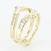 Vintage 14K Yellow Gold Diamond Solitaire Enhancer Ring Guard