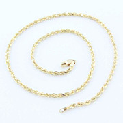 Estate 14K Yellow Gold Diamond Cut Rope Chain Necklace
