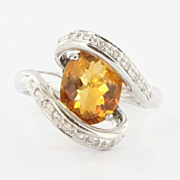 Estate 14 Karat White Gold Citrine Diamond Cocktail Ring Fine Jewelry