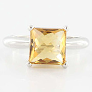 Estate 14 Karat White Gold Citrine Solitaire Ring Fine Jewelry