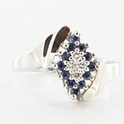 Estate Petite 14 Karat White Gold Diamond Blue Sapphire Cluster Ring