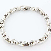 Estate 14 Karat White Gold Diamond Link Bracelet Fine Unisex Jewelry