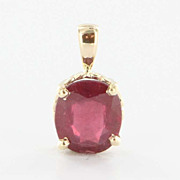 Fine Estate 14 Karat Yellow Gold Solitaire Created Ruby Pendant