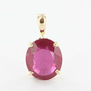 Estate 14 Karat Yellow Gold Created Ruby Pendant Fine Birthstone Jewelry