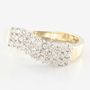 Fine Estate 14K White Yellow Gold Diamond Wave Ring Band