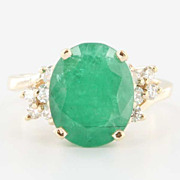 Estate 14 Karat Yellow Gold Emerald Diamond Cocktail Ring Fine Jewelry