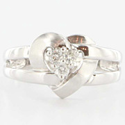 Estate 14 Karat White Gold Diamond Heart Friendship Promise Ring