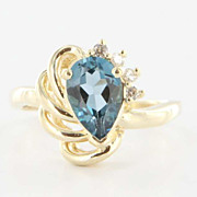 Estate 14 Karat Yellow Gold London Blue Topaz Diamond Cocktail Ring