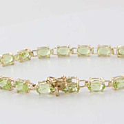 Estate 14K Yellow Gold Peridot Line Bracelet Fine Gemstone Jewelry