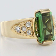 Vintage Estate Diamond Tourmaline 14k Gold Cocktail Ring Band Fine Old Heirloom Pre Owned Used