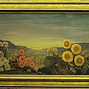 Roy M. Ropp-Sunset, Desert Flowers-18x30 oil