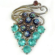 Large Grape Motif Brooch with Aqua & Lava RS