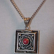 Sterling Silver Pendant Locket & Sterling Chain Coral Stone