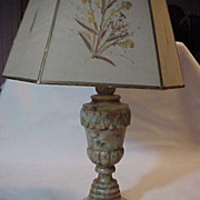 Table Top Marble & Alabaster Carved Lamp with Shade Stunning working
