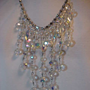 Necklace Bid Aurora  Borealis  & Rhinestone Stunning Large Long adjustable