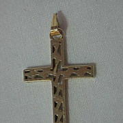 14K Yellow Gold Pierced Cross Pendant with Loop