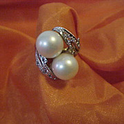 22K Yellow Gold Ring Diamond Pearl Ring Size 6