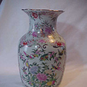Large Big Oriental Chinese Vase White Back ground Pink Green Gold Blue
