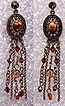 Exquisite Long Dangle  Amber Rhinestone & Swarovski Crystal Pierced Earrings