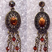 SALE Exquisite Long Dangle  Amber Rhinestone & Swarovski Crystal Pierced Earrings