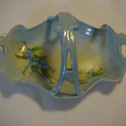 Limoges France Hand Painted Handled Dish Blue For Get Me Knots
