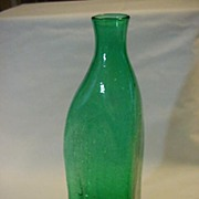 Emerald Green Big Crackle Glass Pinched Bottle Vase