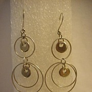 "Sterling Long 2 3/4 "" Rings & Hoop Pierced Earring"