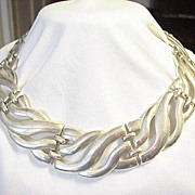 Silver Bib Necklace Choker Graduated back to front