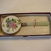 Porcelain top silver edging Stone Handle Hand Mirror