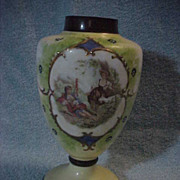 Early Austria Glass Vase Transfer Scene 2 Woman Goat Bag Pipe & hand Painted