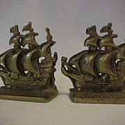 Solid Brass Galleon Full Sail Metal Bookends
