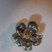 Sterling Silver Flower Designer Stick Pin