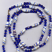 LONG Art Glass Bead Necklace Blue Gold White SUPER 38""