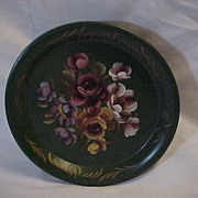 Vintage Hand Painted Toleware wall Pocket  Metal