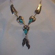Sterling Silver & Turquoise Necklace Feathers Drop Center