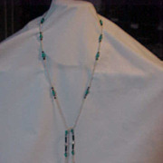 Sterling Turquoise Long Beaded Necklace Rope Lariat