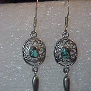 Long Sterling Silver Dangle Earrings Real Turquoise