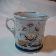 Antique Shaving Mug White Blue Gold Ironstone Type