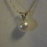 Cultured Pearl Pendant Drop 14K yellow Gold Chain