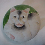 Round Vanity Dresser Jar Box Cat