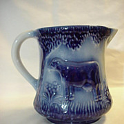 Large Pitcher Blue Cream Cow