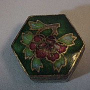 6 Sided Stunning CLOISONNE Pill Box Enamel inside