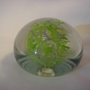 Glass Paper Weight VT Artist Signed Green White Clear