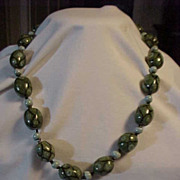 Necklace Decorated Thick Big Beads of Green & Black
