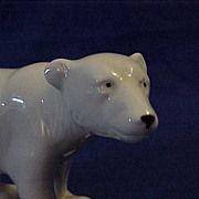 White Porcelain Polar  Bear Black Nose Eyes Blue Crown Mark