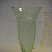 Crackle Glass Tall Vase Light Green Art Glass