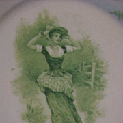 Plate Green White R X C w\ Crown Louis xiv. Victorian Lady Large Straw Hat Bonnet