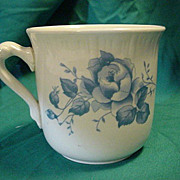 Blue Transferware on Old Porcelain Ironstone  Cup Mug
