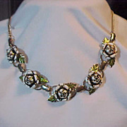 Metal Choker Figural Rose Gold Tone White accented 15 1/2 ""